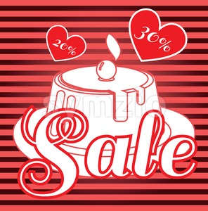 Card with a cream cake with cherry on top over a red background in lines with hearts, in outline style with sale text. Digital vector image. Stock Vector