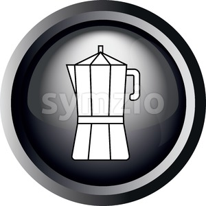 Card with a coffee metallic jar in round frame in 3d over a white background, in black and white outline style. Digital vector image. Stock Vector