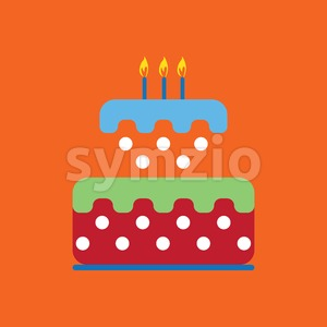 Candy card with a big colored cream cake with dots, burning candles on top, over orange background. Blue, green and red. Digital vector image. Stock Vector