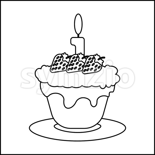 Candy card with a big chocolate cream cake with strawberries with seeds, a burning candle on top, over white background in outline style. Digital Stock Vector