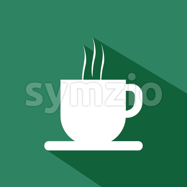 A white cup of coffee with steam and shadow, in outlines, over a green background. Digital vector image. Stock Vector