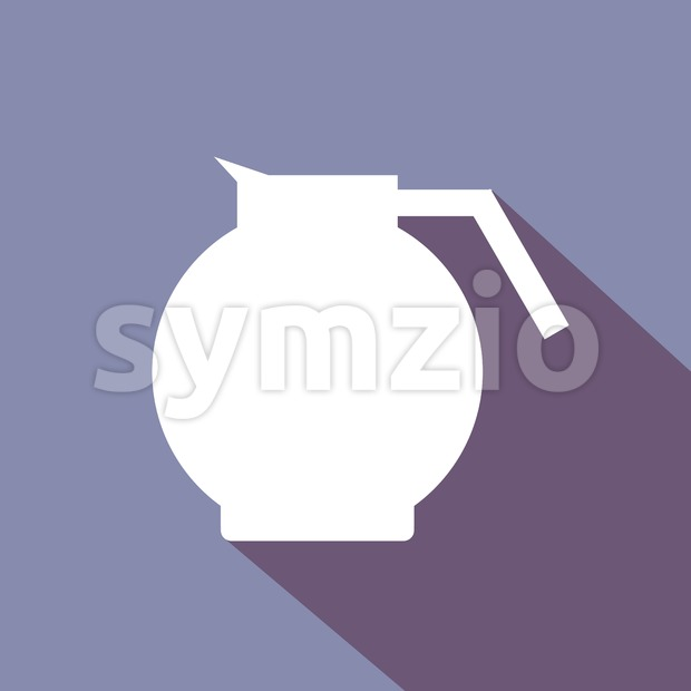 A white coffee jar with shadow, in outlines, over a purple background. Digital vector image.