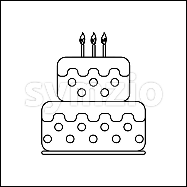 Card with a cream cake and burning candles on top over a white background, in black and white outline style. ...