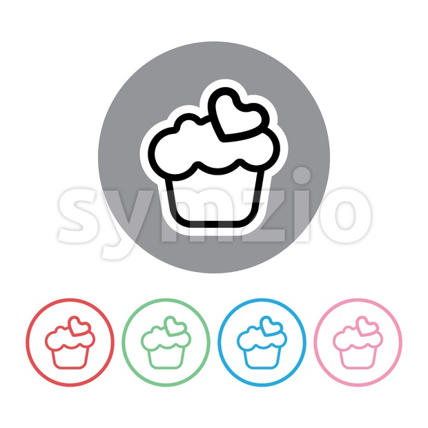 Candy card set with big chocolate cream cakes with heart on top, over white background in outline style. Red, green, blue and pink. Digital vector Stock Vector