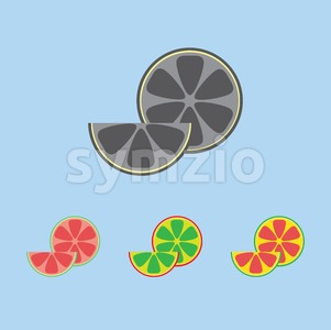 A lemon in section and a slice, in outlines, over a light blue background. Red, green, yellow and silver. Digital vector image. Stock Vector