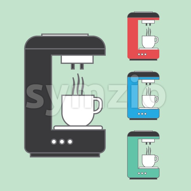 A set of coffee machines pouring hot coffee in white cups, over a light green background. Red, blue and green. Digital vector image Stock Vector