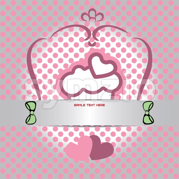 Candy card with cream cake with heart on top, over white and silver background with pink dots. Sample text. Digital vector image. Stock Vector