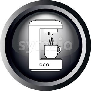 Card with a coffee making machine pouring coffee in a cup, in round frame in 3d over a white background, in black and white outline style. Digital Stock Vector