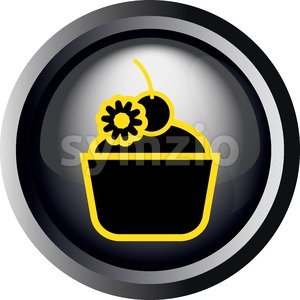 Card with a cake with candy and cherry on top, in round frame in 3d over a white background, in black and yellow outline style. Digital vector image. Stock Vector