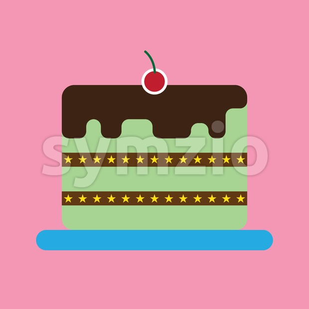 Candy card with a big chocolate cream cake with stars, a red cherry on top, over pink background. Digital vector ...