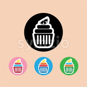 Candy card with a cream cakes, lemon slice on top, over peach background. Blue, yellow, pink, green and black. Digital vector image. Stock Vector