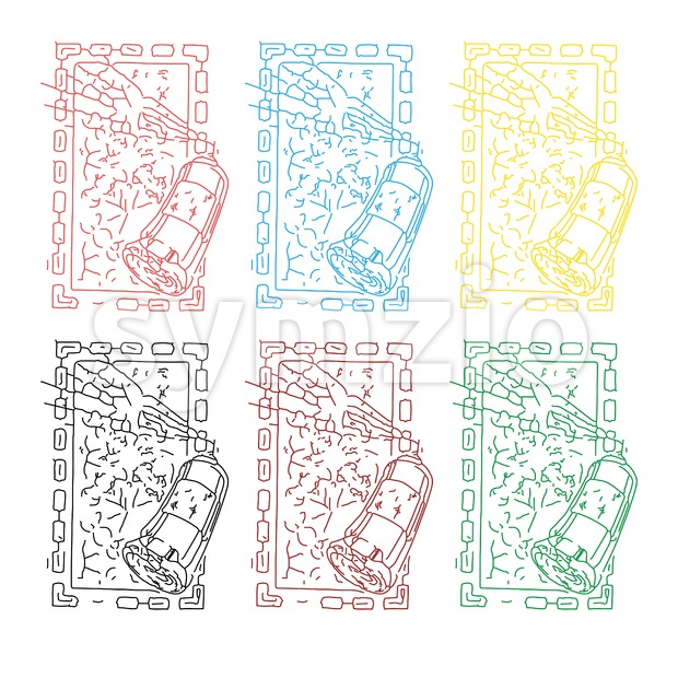 Abstract colored set of sprays painting picture in square frame. In outline style over white background. Digital vector image
