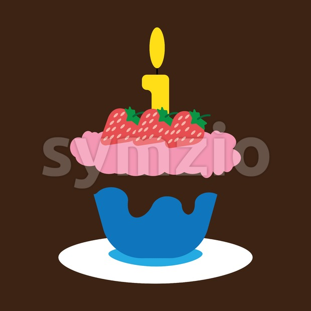 Candy card with a big fruit cream cake with chocolate and strawberries, big burning candle on top, over brown background. ...