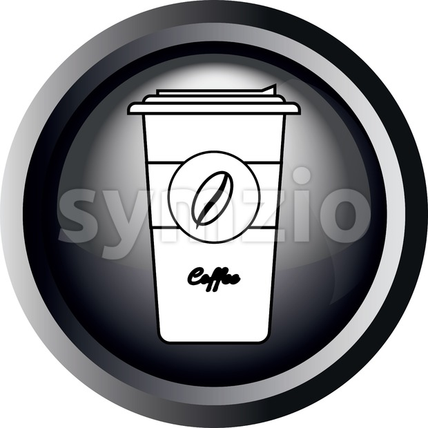 Card with a cup of take away coffee with bean sign, in round frame in 3d over a white background, in black and white outline style. Digital vector Stock Vector