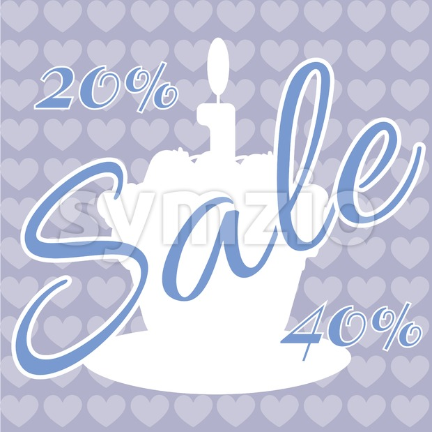 Card with a cream cake with burning candle on top over a purple background with hearts, with sale text. Digital vector image. Stock Vector