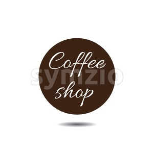 Coffee shop icon in a dark brown circle with shadow and text, over white background. Digital vector image. Stock Vector
