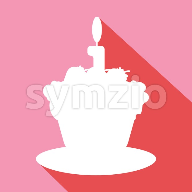 Candy card with a big chocolate cream cake with shadow, burning candle on top, over pink background in outline style. ...