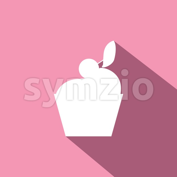 Candy card with a big chocolate cream cake with shadow, cherry on top, over pink background in outline style. Digital vector image. Stock Vector