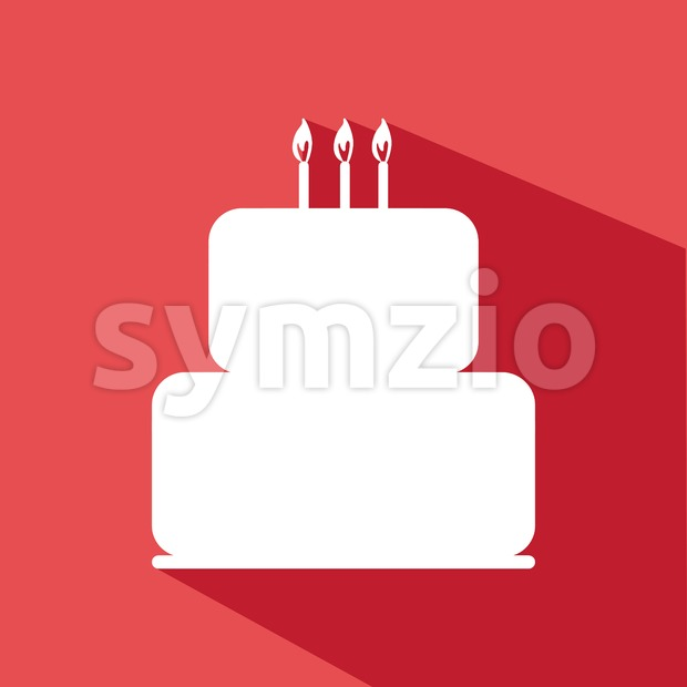 Candy card with a big chocolate cream cake with shadow, burning candles on top, over red background in outline style. ...