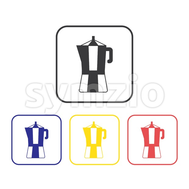Card with a set of coffee makers over a white background, in outline style. Silver, blue, yellow and red. Digital vector image. Stock Vector
