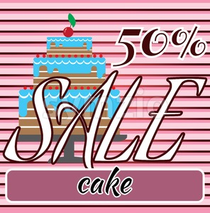 Card with a cream cake with cherry on top over a background in lines and sale text. Digital vector image. Stock Vector