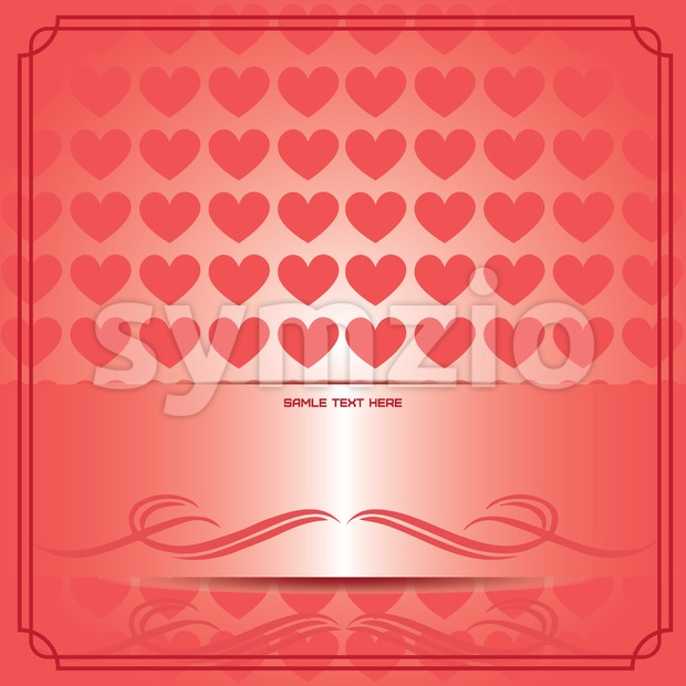 Candy card paper with red hearts, over red gradient background. Sample text. Digital vector image.