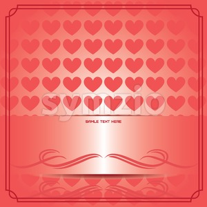 Candy card paper with red hearts, over red gradient background. Sample text. Digital vector image. Stock Vector