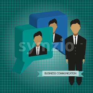Business communication with 3d bubbles and roles, flat design. Digital vector image Stock Vector
