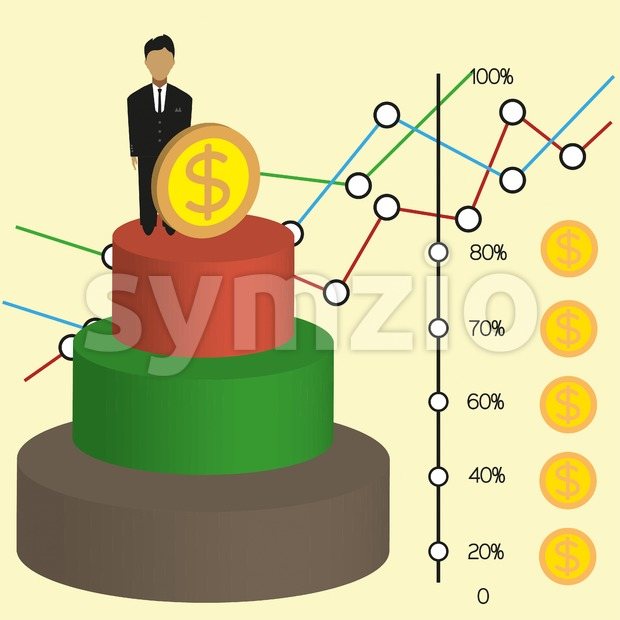 Business infographic with 3d money chart and diagrams, flat design. Digital vector image