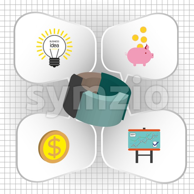 Business infographic with 3d pie chart and idea, money and diagram icons, flat design. Digital vector image