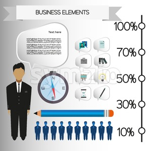 Business infographic with icons, persons, pencil and badge, flat design. Digital vector image Stock Vector