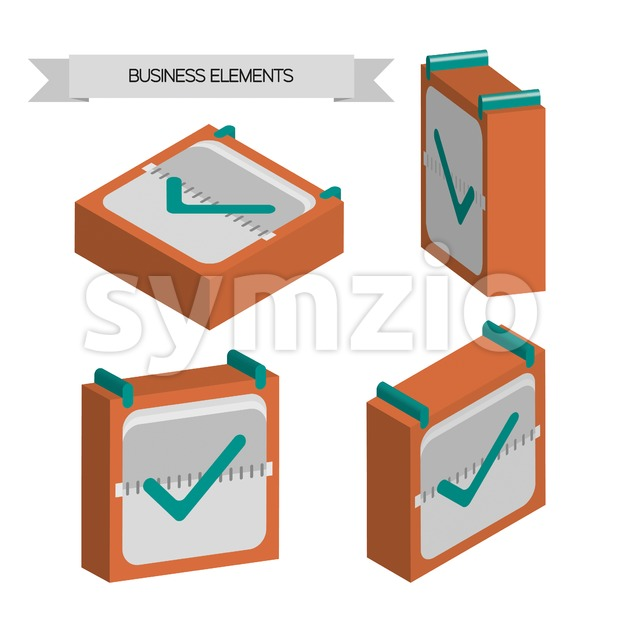 Business elements with 3d check sqaures, flat design. Digital vector image Stock Vector