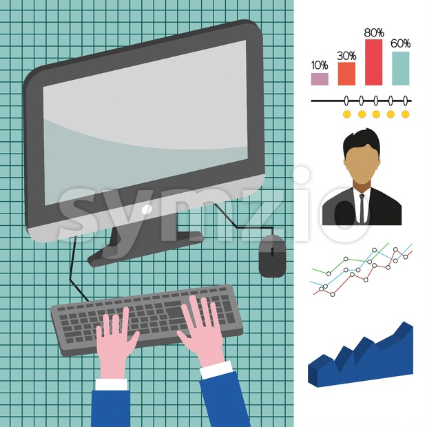 Business infographic with computer, person, charts and badge, flat design. Digital vector image Stock Vector