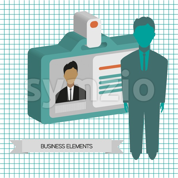 Business infographic with person and badge, flat design. Digital vector image