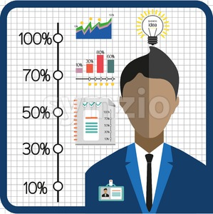 Business infographic with icons, person, charts and badge, flat design. Digital vector image Stock Vector