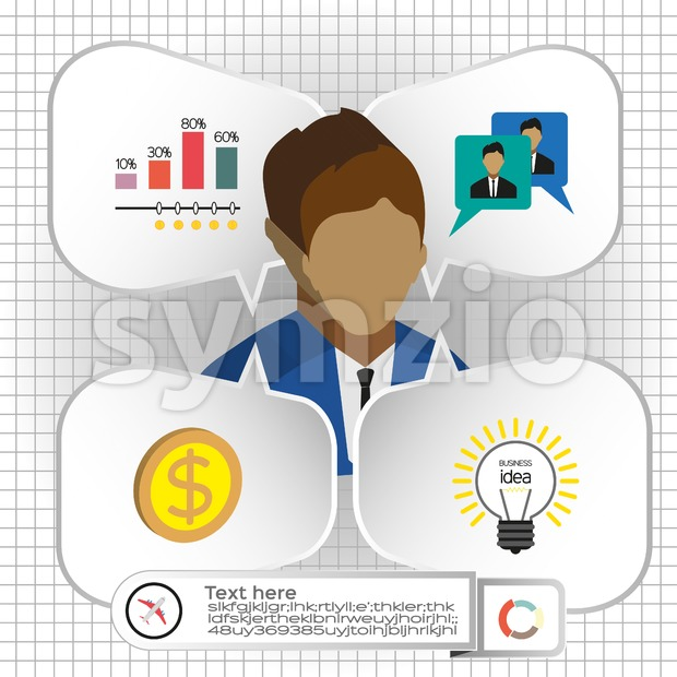 Business infographic with icons, persons, chart and badge, flat design. Digital vector image Stock Vector