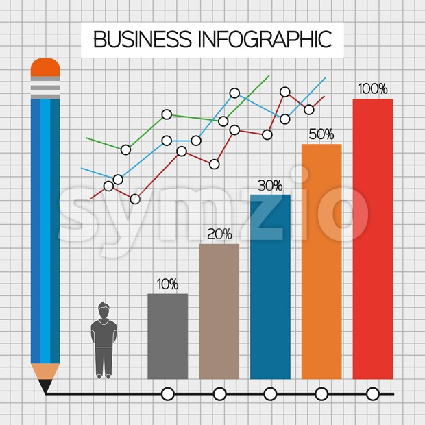 Business infographic with icons, persons, pencil and diagrams, flat design. Digital vector image Stock Vector