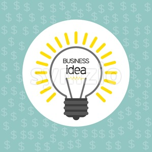 Business idea design with bulb and dollar icons, flat design. Digital vector image Stock Vector