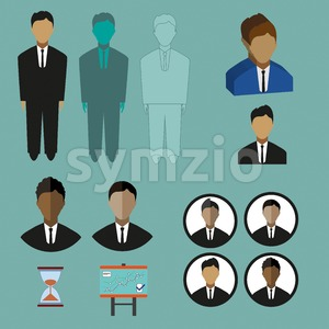Business infographic with icons, persons, charts and hourglass, flat design. Digital vector image Stock Vector