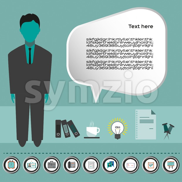 Business idea infographic with icons, person, coffee, folders and papers, flat design. Digital vector image Stock Vector
