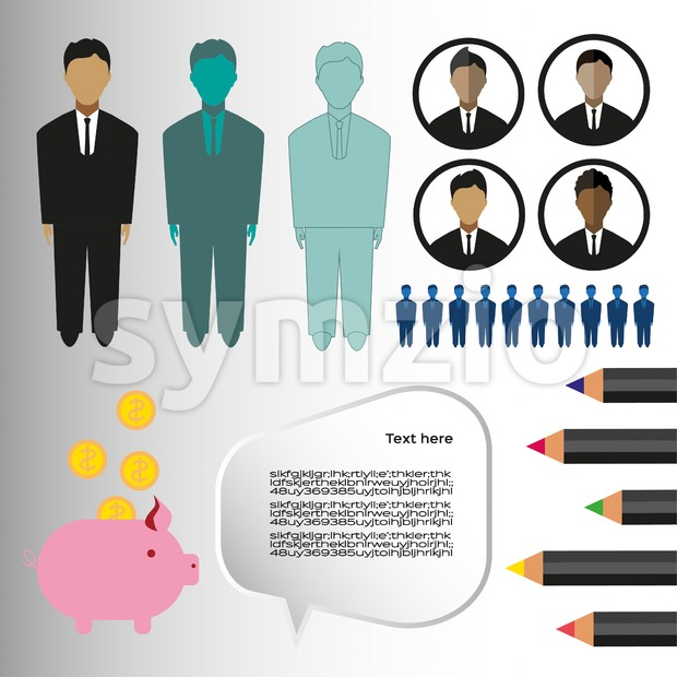 Business infographic with icons, persons, pencils and money box, flat design. Digital vector image