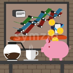 Business infographic with icons, charts, coffee and money box, flat design. Digital vector image Stock Vector
