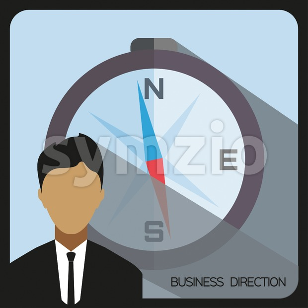 Business direction with a person and compass, flat design. Digital vector image Stock Vector