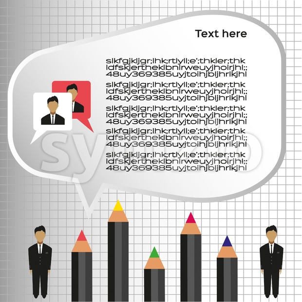 Business idea infographic with icons, persons and pencils, flat design. Digital vector image Stock Vector