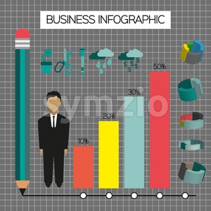 Business infographic with icons, person, pencil and diagrams, flat design. Digital vector image Stock Vector