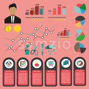 Business infographic with icons, persons and money, flat design. Digital vector image Stock Vector