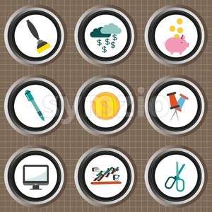 Business icons set, flat style over brown background with grid. Digital vector image Stock Vector