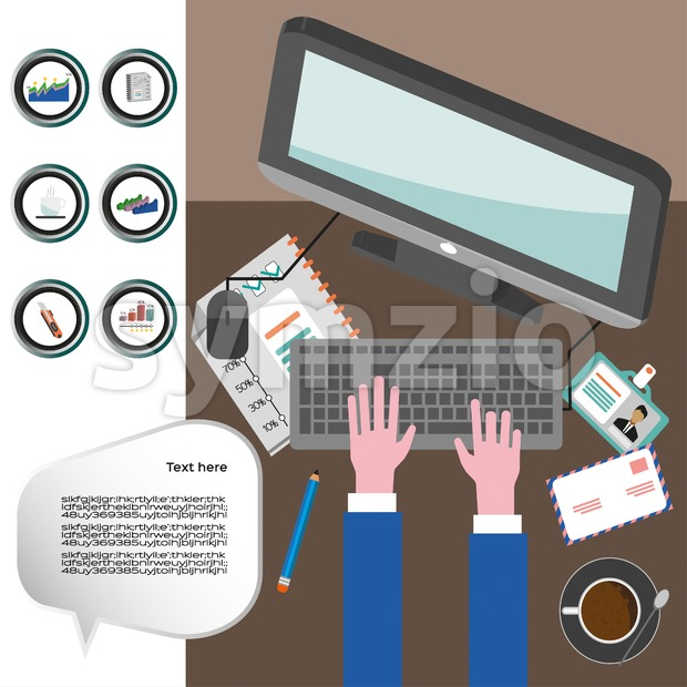 Business infographic with icons, computer and typing keyboard, flat design. Digital vector image