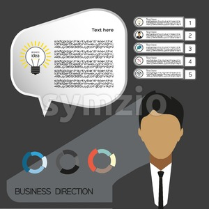 Business idea infographic with icons, persons and charts, flat design. Digital vector image Stock Vector