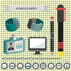 Business idea infographic with icons, persons and 3d charts, flat design. Digital vector image Stock Vector